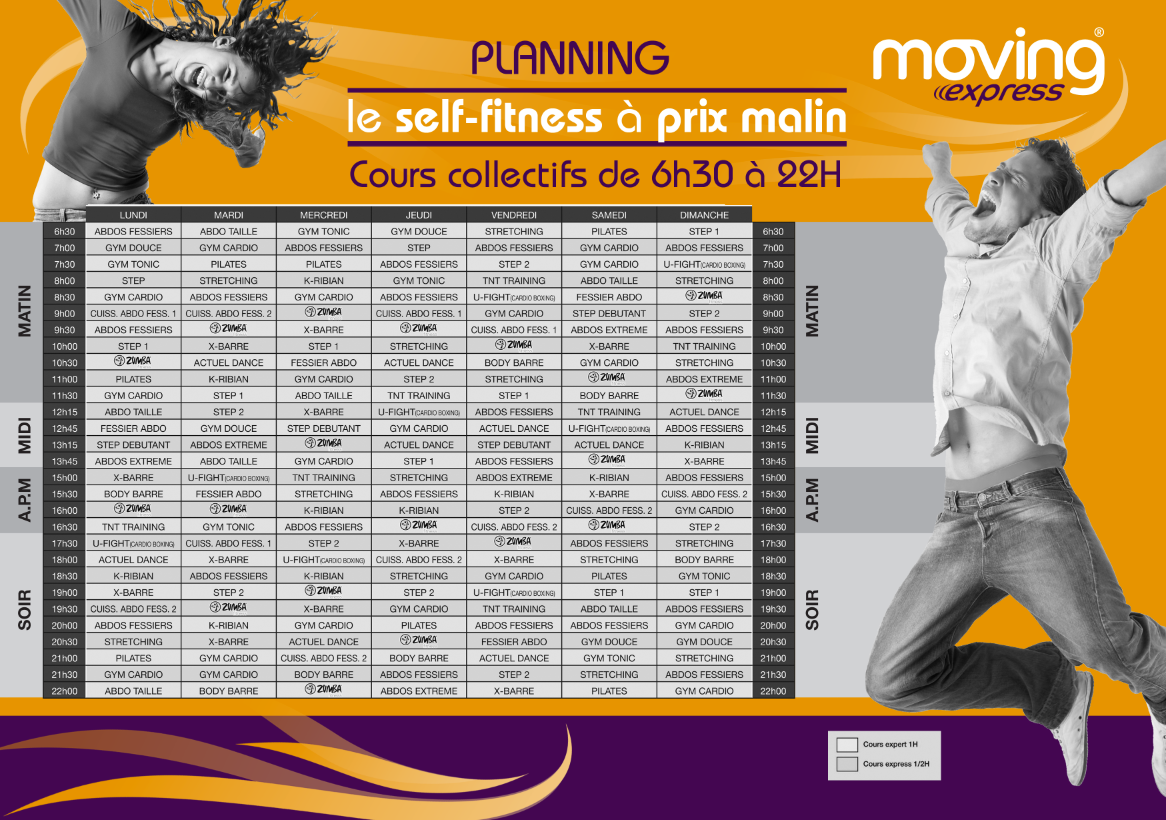 Planning de la salle de sport Moving Express Courbevoie